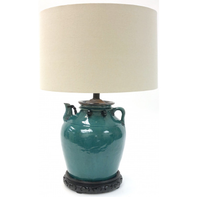 Antique Turquoise Ceramic Pot Lamp