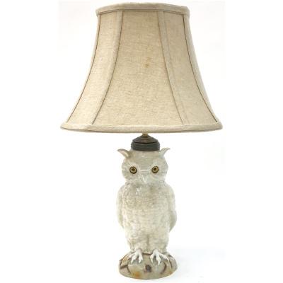 Antique Porcelain White Owl Lamp *Hold