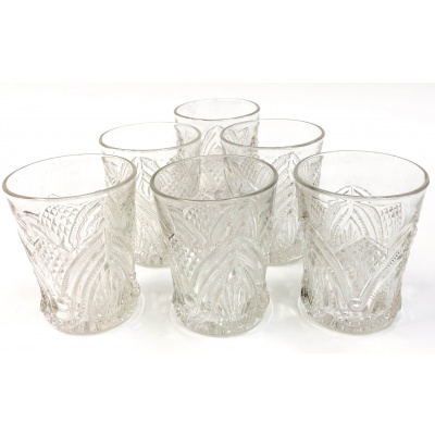 Antique EAPG Pineapple &Fan Tumblers S/6