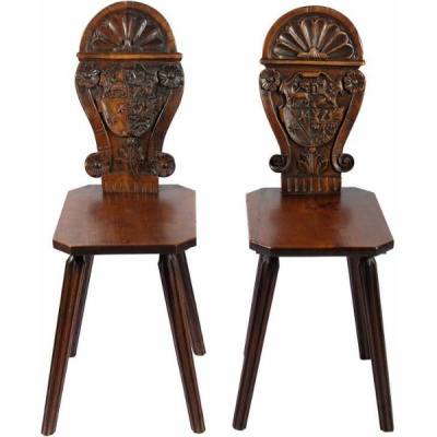 Antique Pair of German Hall Chairs