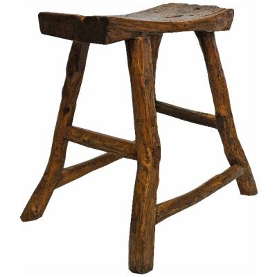 Antique Asian Elm Saddle Stool