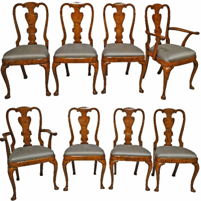 Antique Burled Elm Dining Chairs Set/8