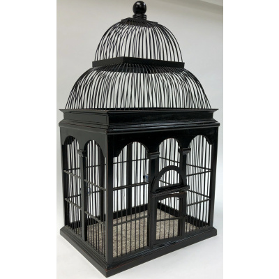 Black Lacquer Rectangular Domed Birdcage