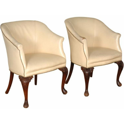 Antique Pair George III Leather Chairs