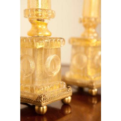 Antique Pair of Gold Murano Column Lamps