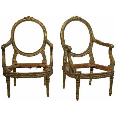 Antique Pair f Louis XVI Style Fauteuils