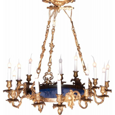 Antique French Chandelier w/Blue Glass