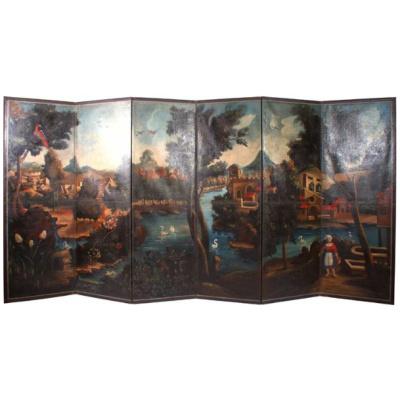 Antique Painted Belgium 6 Panel Screen