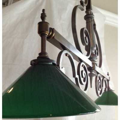 Custom Billard Light w/GreenGlass Shades