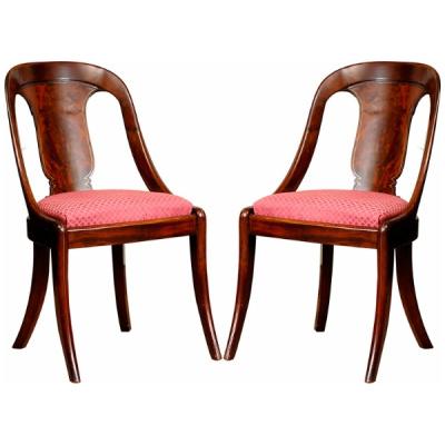 Antique Pair of Regency Spoonback Chairs