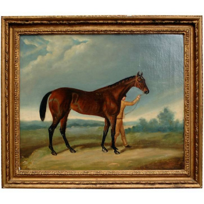 Antique British School Horse & Groom