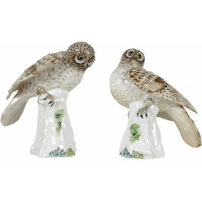 Antique Pair of Crown Staffordshire Owls