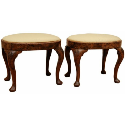 Antique Pair of George I Oval Stools