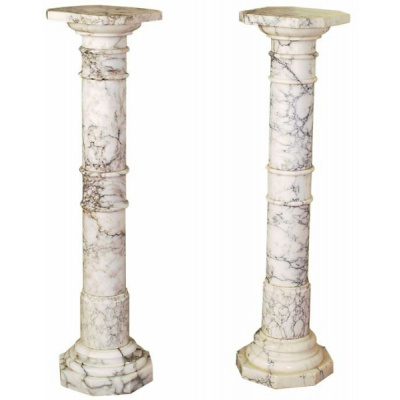 Antique Pair of White Marble Pedestals