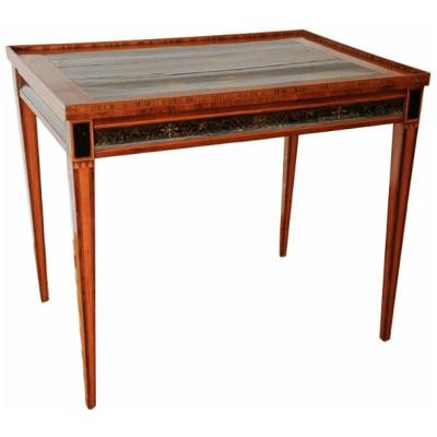 Antique Sheraton Tea Table w/Chinoiserie
