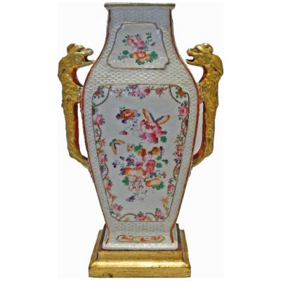 Antique Famille Rose Flat Baluster Vase