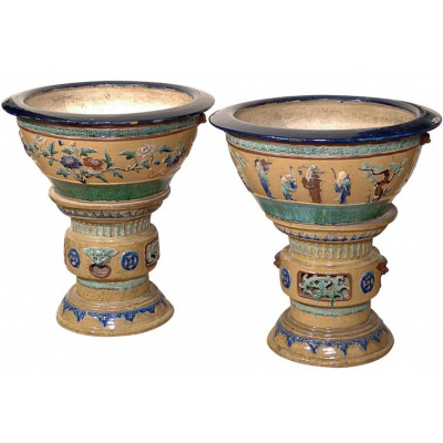 Antique Pair Chinese Bowls On Pedestals
