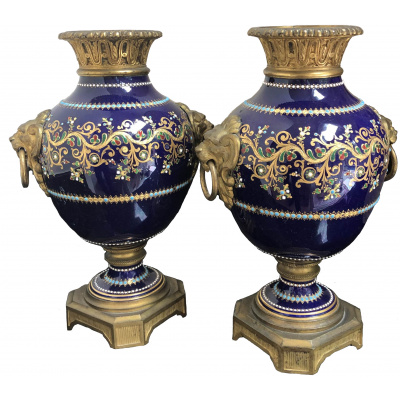 Antique French Mounted Porcelain Urns