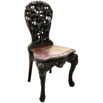Antique Japanese Carved Iris Chair