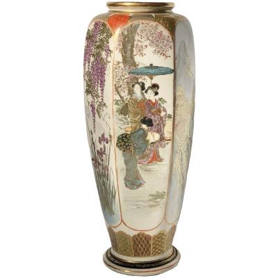Antique Meiji Period Hexagonal Vase
