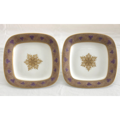 Antique Pair Royal Worcester Sq Bowls
