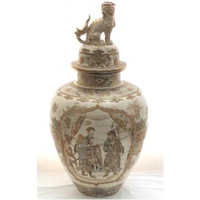 Antique Meiji Period Satsuma Urn w/Foo