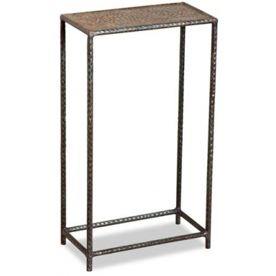 Leon Hammered Metal Drink Table-Verdigri