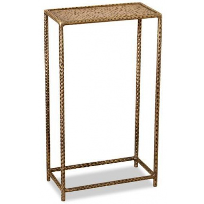 Leon Hammered Metal Drink Table - Brass
