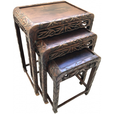 Antique Chinese Hongmu 3 Nesting Tables