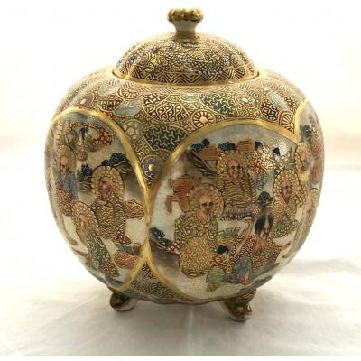 Antique Meiji Satsuma Melon Form Jar