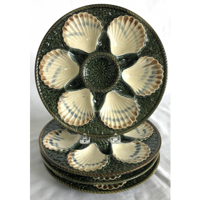 Antique Majolica Oyster Plates Set/4