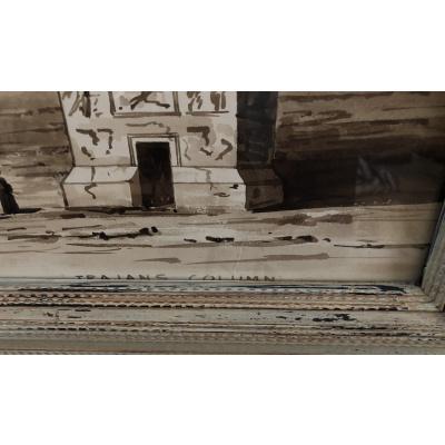 19th c Set of Sepia Watercolors, Image 4