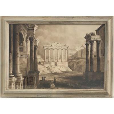 19th c Set of Sepia Watercolors, Image 1