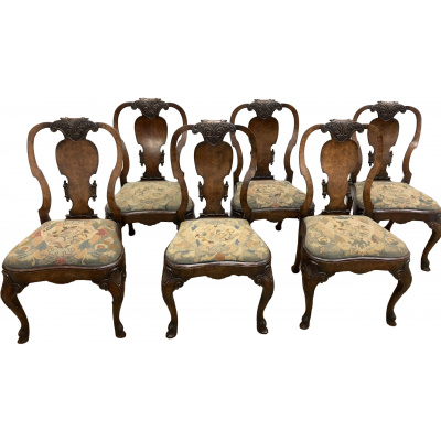 Antique Burl Walnut Dining Chairs Set/6