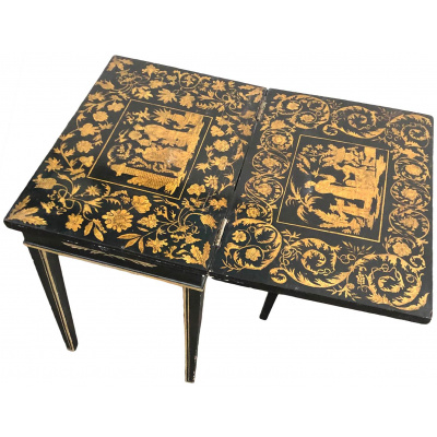 English 19th c. Miniature Penwork Table