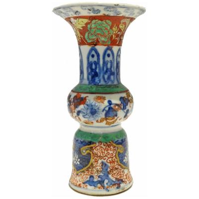 Antique Chinese Imari Trumpet Vase