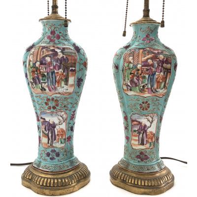Antique Pair Turq Chinese Export Lamps