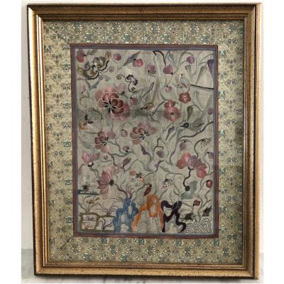 Antique Framed Embroidered Kimono Panel