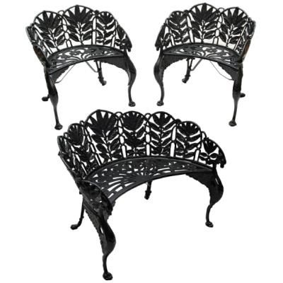 "Antique Cast Iron ""Laurel""Bench & Chairs"