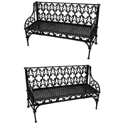 Antique Pair of Cast Iron Gothic Benches