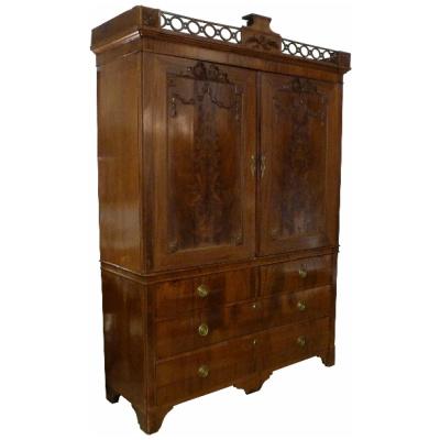 19th c. Dutch Mahogany Linen Press