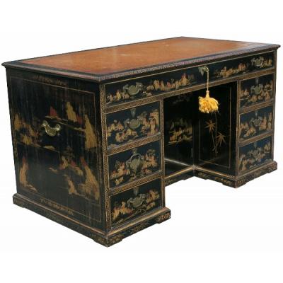 Antique English Japanned Pedestal Desk