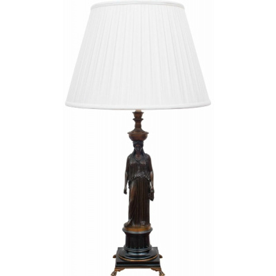 Antique F Barbedienne Bronze Lamp