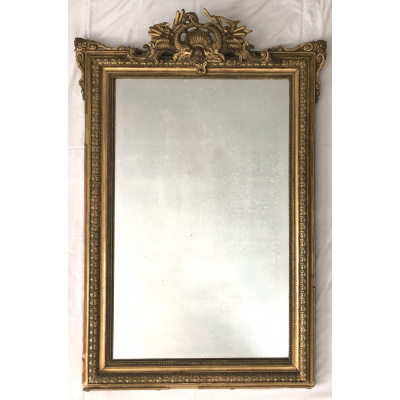 Late 19th c. Gilt Mirror w/Dolphin Crest
