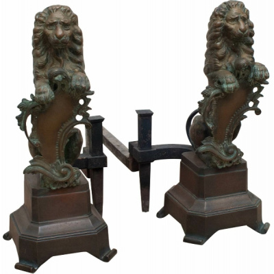 Antique Bronze Amorial Lion Andirons