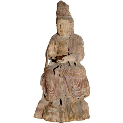 """Antique 46""""Carved & Painted Wood Guanyin"""
