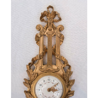Antique French Bronze Petite CartelClock