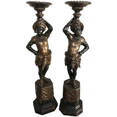 19th c Pair of Blackamoor Pedestals