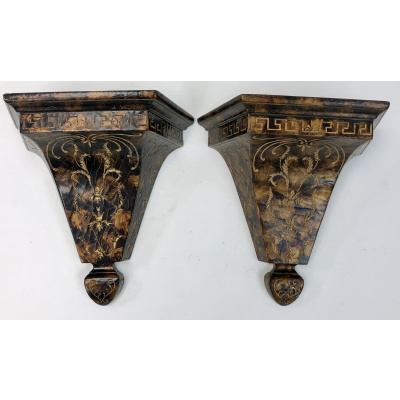 A Pair of Faux Tortoise Corbels