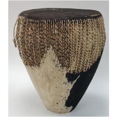 Vintage African Black Cowhide Drum
